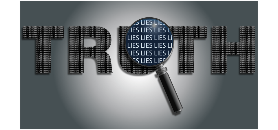 """Word """"Truth"""" with magnifying glass revealing """"lies"""""""