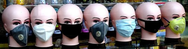 mannequin heads with facemasks