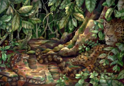 Painting of Jaguar in jungle