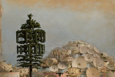 "Scott Greene ""Babel Gone,"" 2011, oil on canvas on panel, 4o x 60 inches. Courtesy Catharine Clark Gallery."