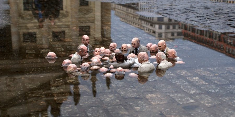 "Isaac Cordal ""Follow the leaders"" Berlin (Germany), 2011"
