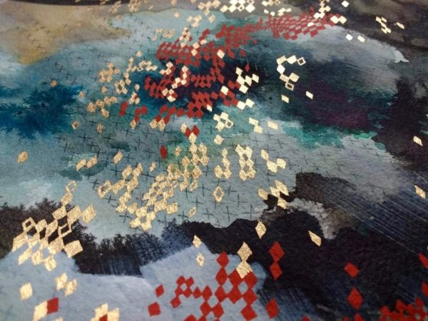 "Lehuauakea ""Black Snakes in the Water"" (detail)"