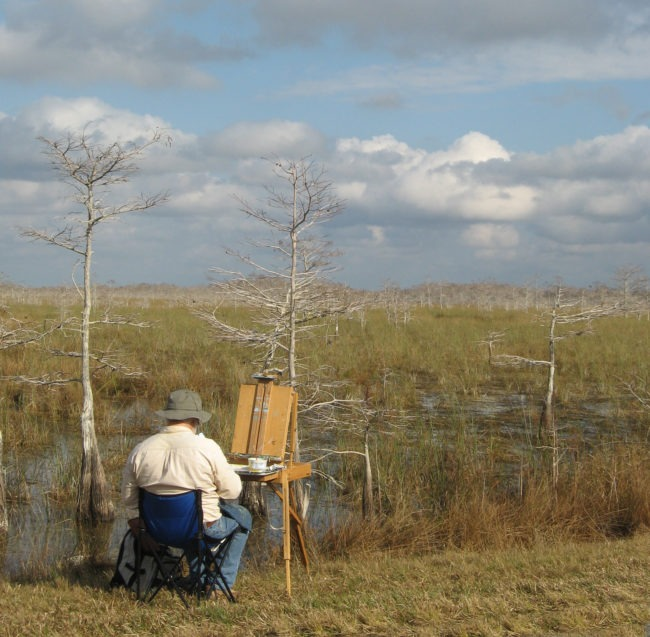 John Agnew Painting in The Everglades