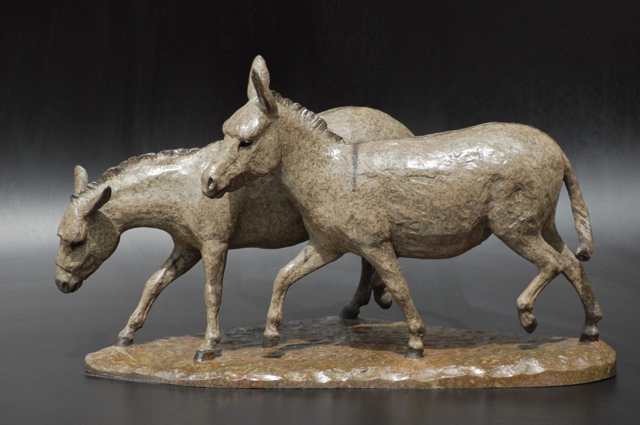 Las Burritas. Two donkeys playing, 2004 Bronze