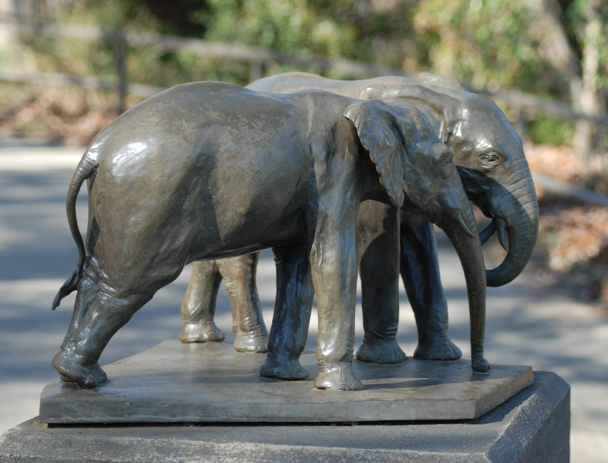 "The Girls - Two Elephants 1999 Bronze 14.25H x 22.5""W x 20.5""D"