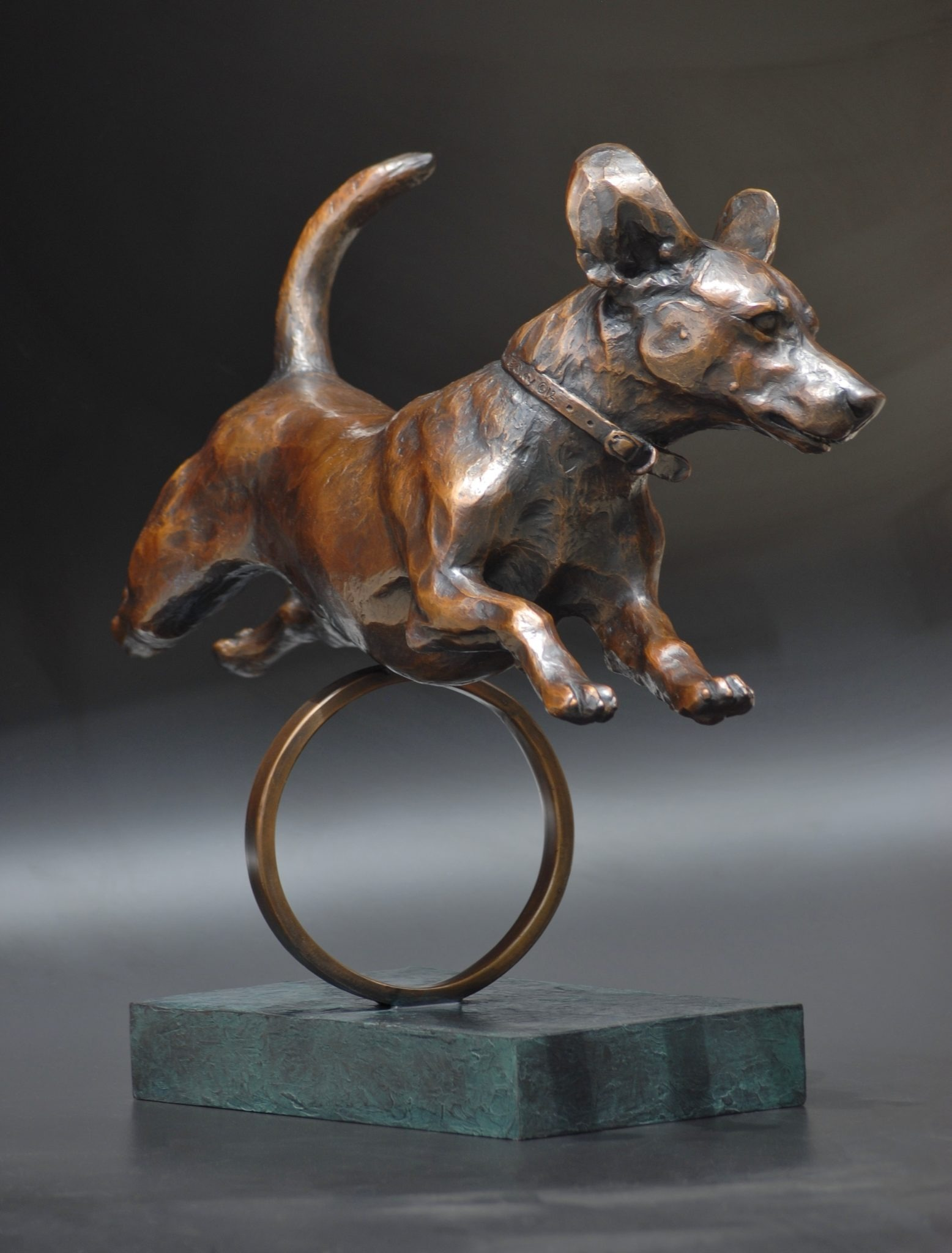 Rocket Man. Mixed breed dog running, 2012 Bronze